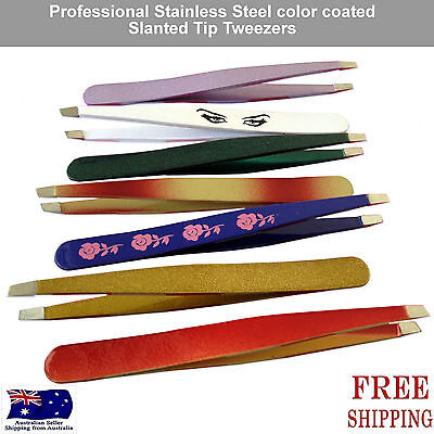 stainless steel eyebrow hair tweezer Plucker Puller Slanted Tip Tweezers new