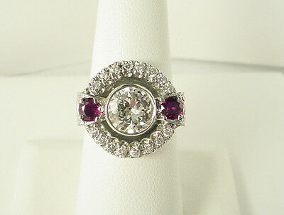 Estate Vintage Antique Art Deco Palladium Old European Diamond Cocktail Ring*