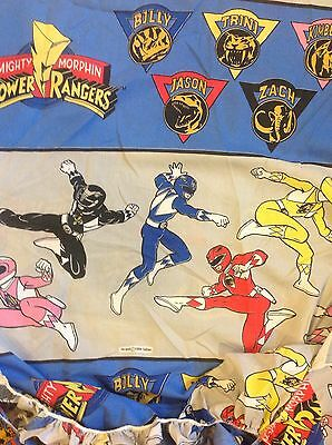 Vintage 1994 Saban Mighty Morphin Power Rangers Twin Fitted Sheet Cutter Fabric