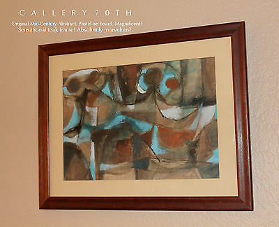 MID CENTURY MODERN COLORFUL EXPRESSIONIST ABSTRACT PAINTING! 1950s Art Eames Vtg