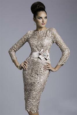 New Mother of the Bride Outfits Champagne Lace Short Formal Evening Party Dress