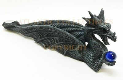 Celtic Guardian Dragon Holding Blue Orb Decorative Incense Burner Fantasy Statue