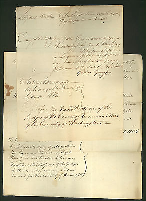 two signed 1812 New York Supreme Court documents *Washington County Abel Baldwin