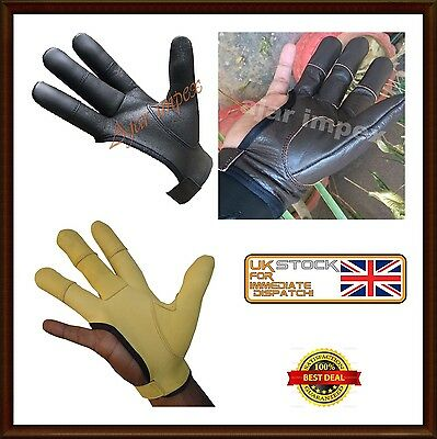 Archers Leather Shooting 4 Finger Glove Chocolate Brown & Black Hunting Gloves