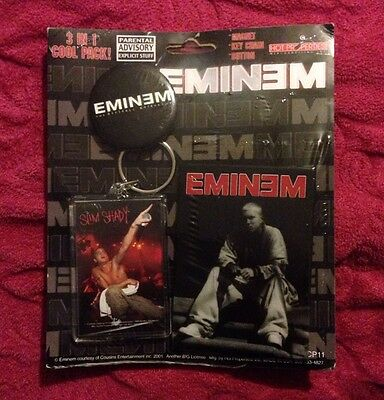 Eminem 3 In 1 Cool Pack, Button, Keychain And Magnet New
