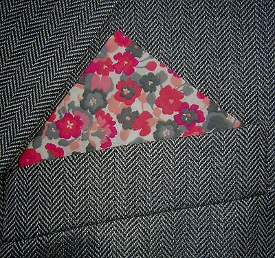 SUPERNOVA Pink Floral Pocket Square Handkerchief Liberty Fabric Mod Wedding