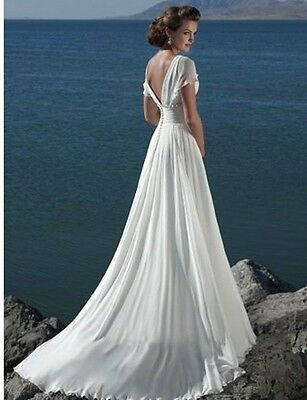 2015 New Simple White/Ivory Wedding Gown Sexy Bridals dress Custom Size:6-22+++