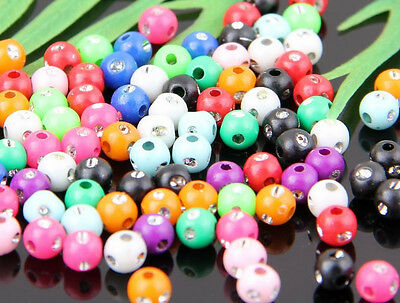 200Pcs Mixed Acrylic Round Curly Round Ball Loose Spacer Beads Findings 4.5mm