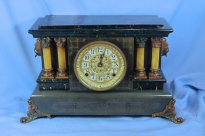 SETH THOMAS ANTIQUE 4 COLUMN MANTLE CLOCK ADAMANTINE 100%ALL ORIGINAL RUNS GREAT