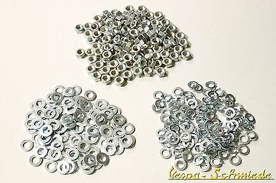 VESPA - M7 Nuts + Discs + Snap rings ever 100 Pieces V50 PK PX Sprint Rally
