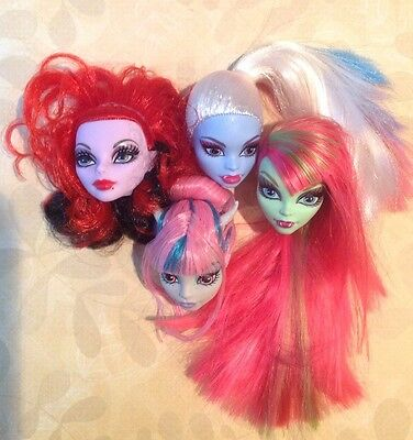 MONSTER HIGH ~ Abbey Operetta Rochelle Venus 4 HEADS LOT New For OOAK