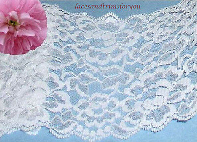 """White Lace Trim Bridal 3 Yd x 5-1/2"""" Galloon Floral H20y US Made Free Ship Offer"""