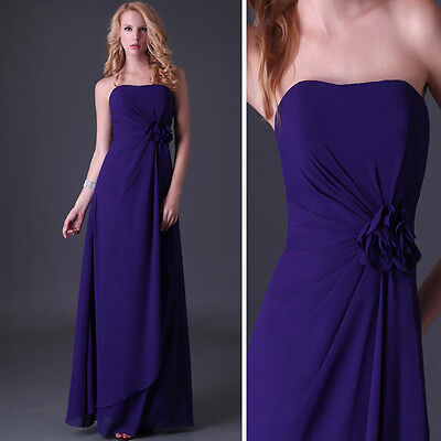 LAST ONE ~Purple Long Bridesmaid Prom Ball Gown Evening Party Graduation Dress
