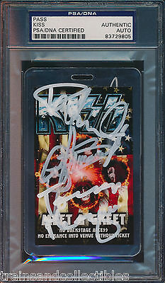 KISS BAND SIGNED CONCERT PASS Gene Simmons Paul Stanley + others PSA/DNA #9805