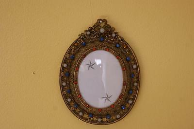 Antique French Jeweled Picture Frame w/Bow ! Gold Ormolu for Miniature Portrait