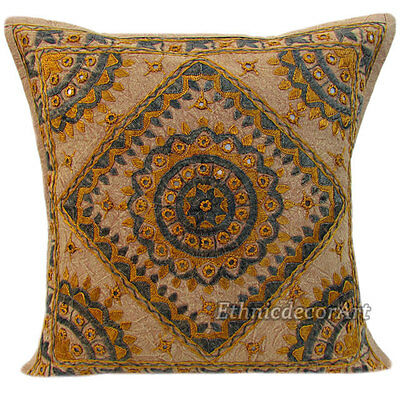 """16"""" INDIAN CUSHION PILLOW COVER THROW Embroidery Mirror Vintage Traditional Araf"""