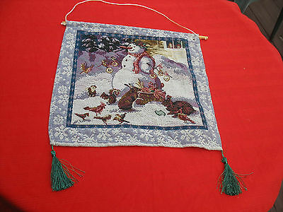"""Christmas Snowman Tapestry Wall Hanging Decor Nature  15.25""""X15"""""""
