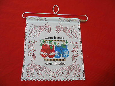 """Winter WARM FRIENDS Mittens Lacey Wall Hanging Decor   7.25""""X8.5"""""""