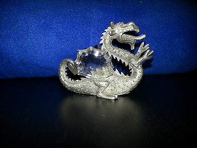 SPOONTIQUES PEWTER DRAGON WITH CRYSTAL WINGS