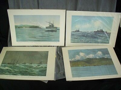 Lot of 4 VINTAGE Naval Prints by Artist Carlton T Chapman Spanish American War