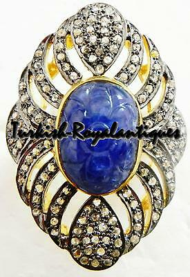GORGEOUS  VINTAGE STYLE NATURAL BLUE SAPPHIRE CARVING & ROSE CUT DIAMOND RING