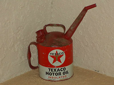 TEXACO Motor Oil Can Metal Gas Station Man Cave Garage Chevron Ford Chevy Sign