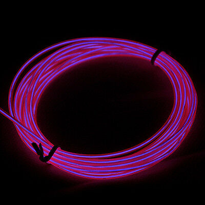 Neon Light Glow EL Wire Rope Tube Car Bar Dance Party Pink Strobe 9ft 3M
