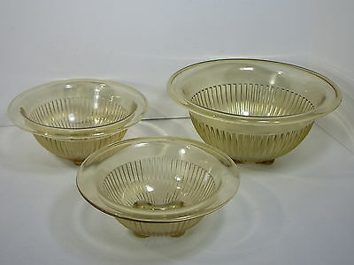Federal Depression Glass Mixing Bowl Set/3 Yellow Amber Vtg Ribbed Rolled Rim