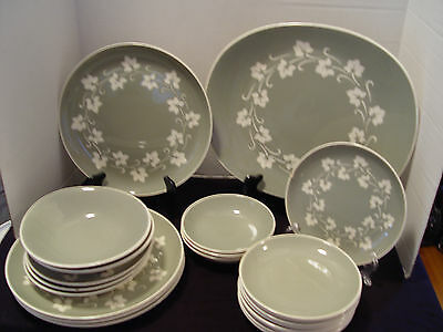 Harderware Ironstone Since 1840 21 Pieces Sage Green AND Ivory