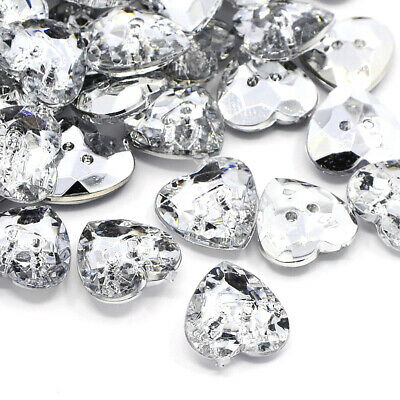 100pcs Faceted Acrylic Sewing Rhinestone Buttons Heart Crystal 13x13x4mm 2-Hole