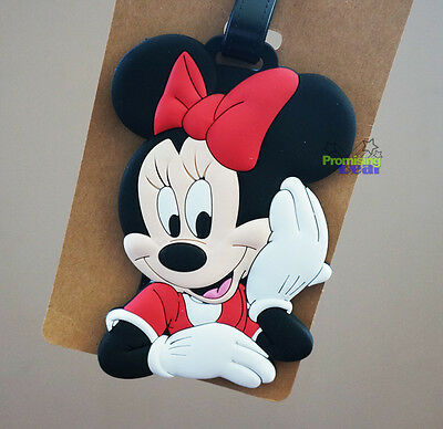 Cute Disney Mini Mouse Luggage Tags Holder Travel Suitcase Baggage Holder