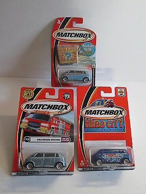 Matchbox 3 different VW Volkswagen Microbus concepts including treasure chest