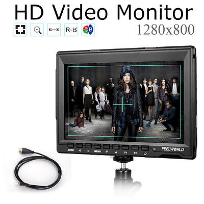 "Feelworld FW759 7.0"" HD IPS 1280x800 Field Monitor Camera 5D II Mode +Cable"