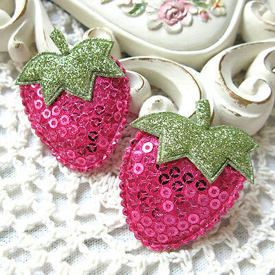 Sequin fabric strawberry sew padded appliques Deep Pink 45x35mm 5pcs (16-20-50)