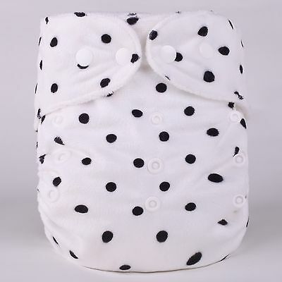 black dots Washable Reusable Adjustable Snap One-Size Minky Cloth Diapers-D10