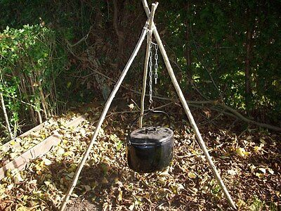 Tripod Chain Campfire Camping Cooking Dutch Oven BushCraft Reenactment Tent
