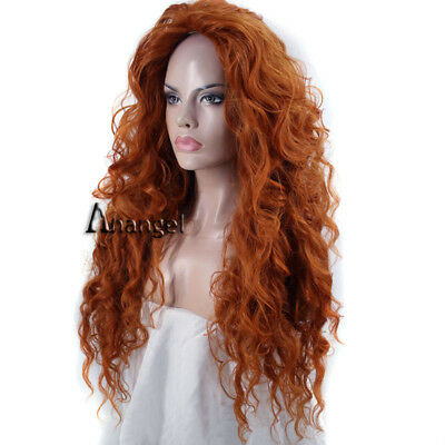 Pixar Animated Brave Merida Cosplay Wig Synthetic Orange Long Wavy wigs