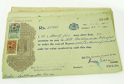 Wholesale Lot 100 Pcs Vintage Indian Promissory Notes Adhesive Stamp 1954-77