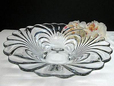 "Cambridge Caprice 10 1/2"" Crystal Clear 4 Toed Footed Bowl"