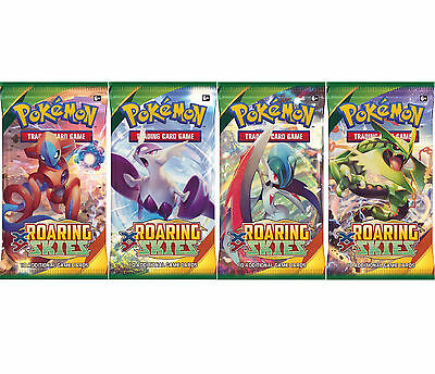 POKEMON: XY ROARING SKIES - 4 SEALED BOOSTER PACKS - NEW TRADING CARDS FOR 2015