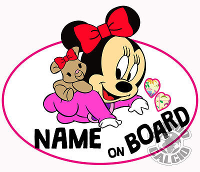 Sticker Minnie Mouse Baby On Board Personalizable (Your Name) Baby Girl Etiqueta