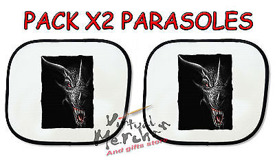 PACK 2 PARASOLES O 1 parasol DRAGON NEGRO BLACK FANTASIA HD sunshield coche car