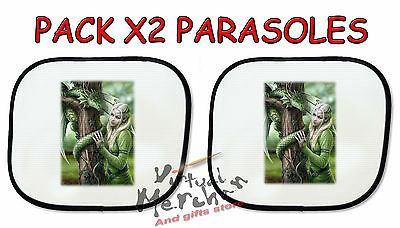 PACK 2 PARASOLES O 1 parasol ELFA Y DRAGON VERDE FANTASIA sunshield coche car