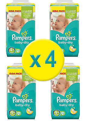 448 Couches Pampers Baby Dry Maxi+  GIGA,  Taille 4+   9/20 Kgs - Nouveau