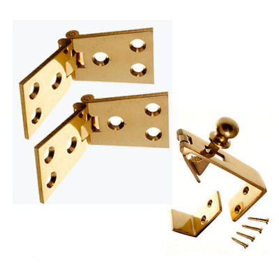 """Counter Flap Catch & Stay + Pair 4"""" Bar Hinges Pack SET CHROME, SATIN or BRASS"""