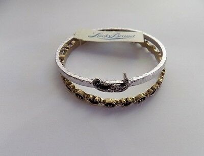 NWT lucky brand antique silver/gold tone set of two bangle bracelet