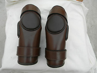 100% Real Leather 2 Strap Polo & Ridding Knee Guards Leather and Padded