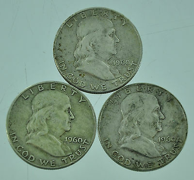 1960 Franklin Half Dollar Silver Coins (Lot of 3 Coins)
