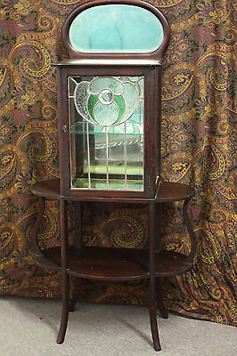 Antique Art Nouveau Mirrored Mahogany Etagere Display Curio Cabinet Leaded Glass