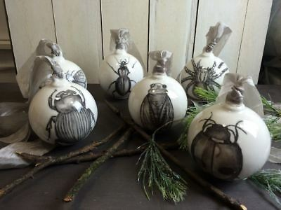 Set of Six Hand Drawn Insect Ceramic Bauble Decorations, Unusual Gift, Boxed